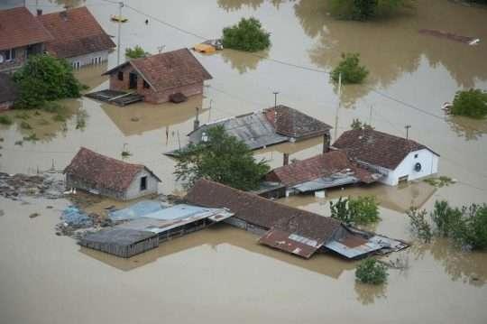 Zupanja, 18.05.2014 - Pogled iz zraka na katastrofalne i nezapamcene poplave na podrucju istocne Slavonije