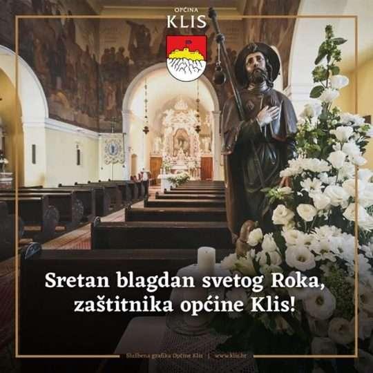 Slika kipa sv. Roka u unutrašnjosti crkve